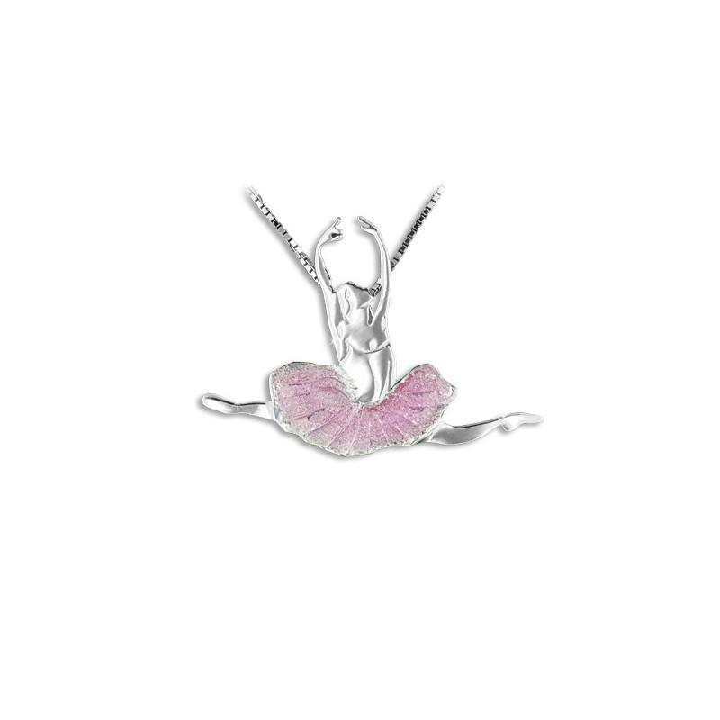 """Collier et pendentif Mikelart """"grand jeté"""" rose"""