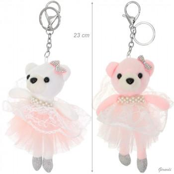Porte-clé ours danseuse rose