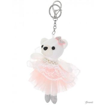 Porte-clé ours danseuse blanc